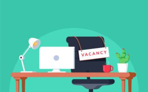 """Cartoon Picture of office that says """"Vacancy"""""""