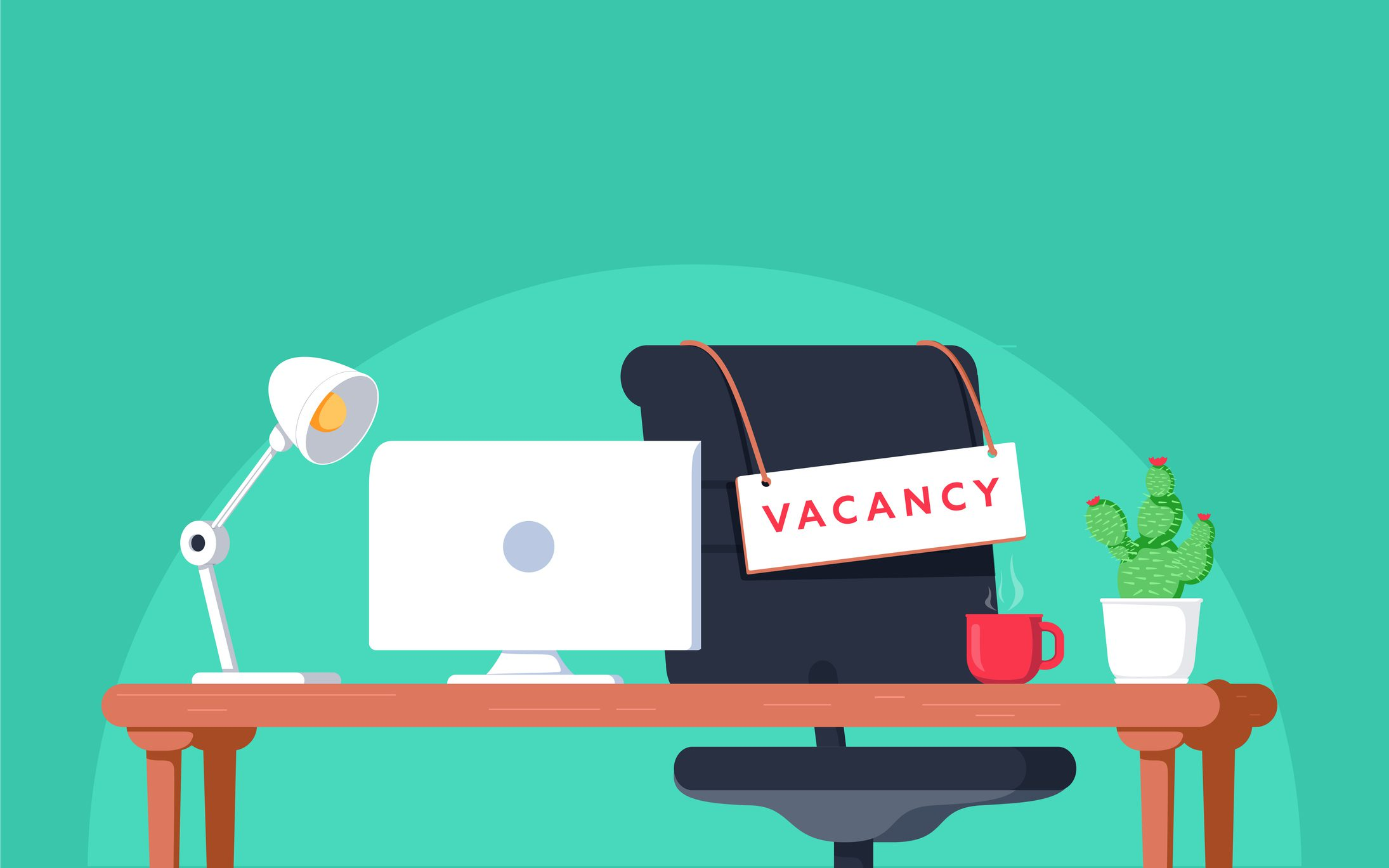 "Cartoon Picture of office that says ""Vacancy"""