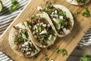 Tacos on tray
