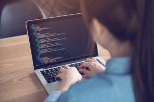 Woman coding on lap top.