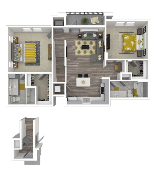 two bed/bath floor plan