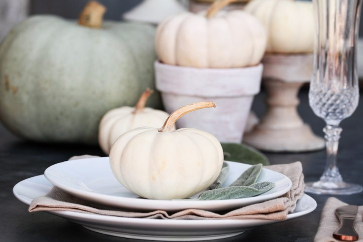Farmhouse style Thanksgiving Day or Halloween place setting with heirloom mini white and grey pumpkins.