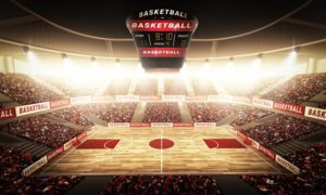An imaginary basketball arena is modelled and rendered.