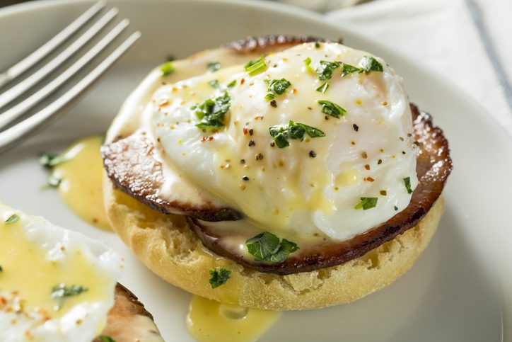 Homemade Eggs Benedict with Bacon and Hollandaise Sauce