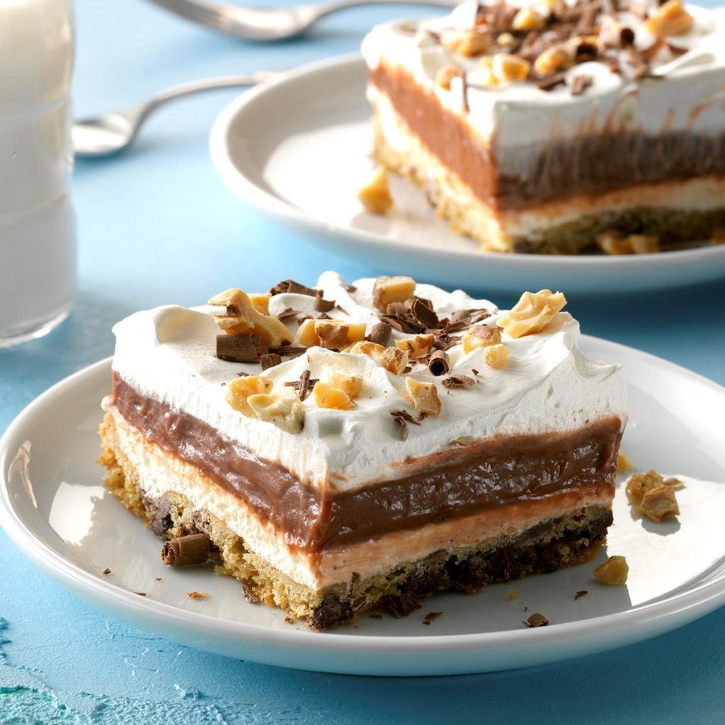 Chocolate chip cookie delight, with layers, whipped cream and toppings