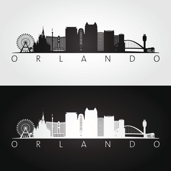 Orlando USA skyline and landmarks silhouette, black and white design, vector illustration.