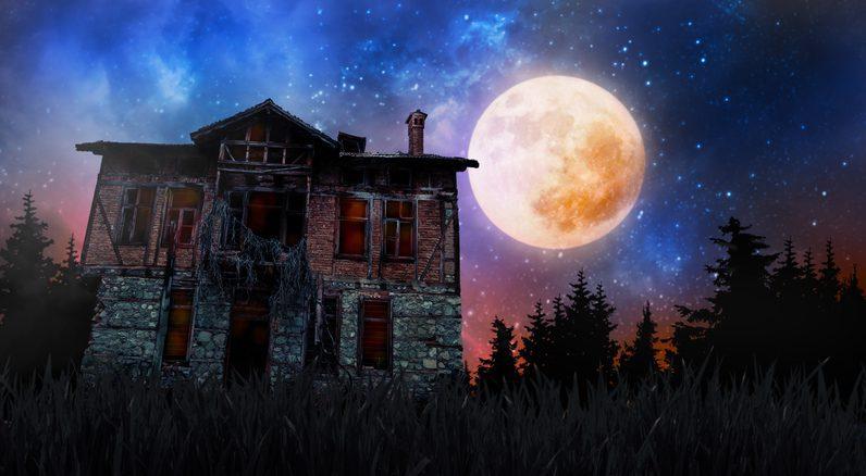 halloween creepy haunted old house and fool moon