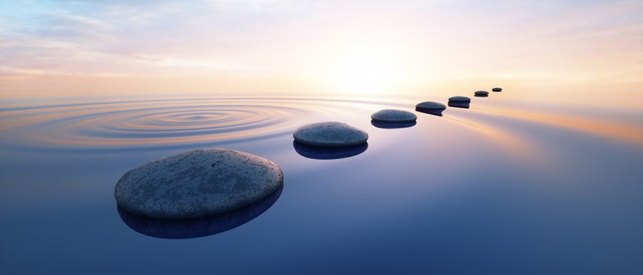 Row of stones in calm water in the wide ocean concept of meditation - 3D illustration