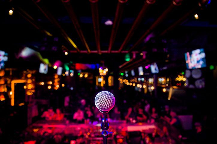 Microphone at a Comedy Show or Music Performance Show on Stage Entertainment