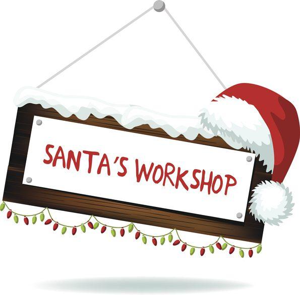 Cartoon Santa's workshop sign isolated