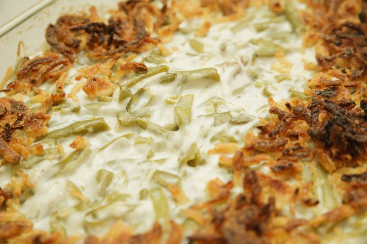 Green bean casserole baked in container