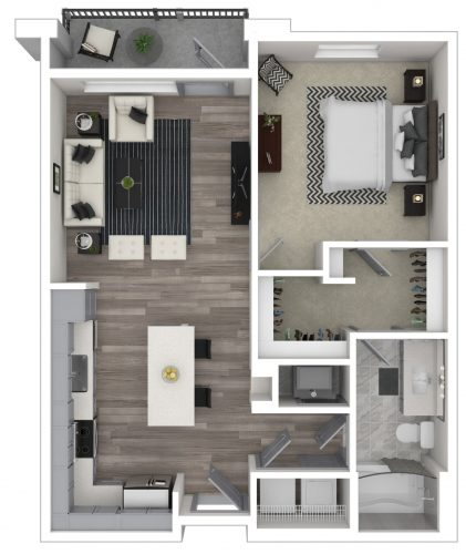 The SERENITY, One Bedroom, One Bath, 794 Total SF with Balcony/Patio