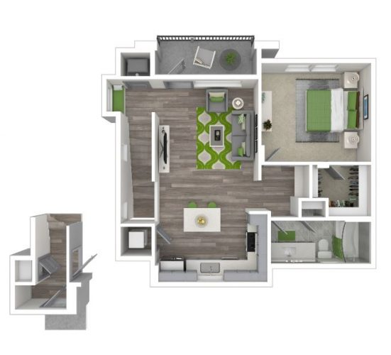 The INSPIRATION One Bedroom, One Bath CARRIAGE HOME, 909 Total SF with Balcony/Patio