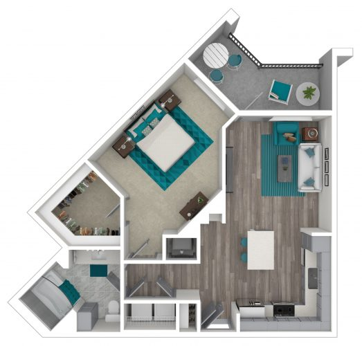 The IMPETUS One Bedroom, One Bath, 879 Total SF with Balcony/Patio