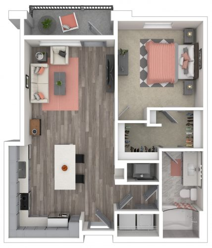 The MUSE One Bedroom/One Bath, 821 Total SF with Balcony/Patio