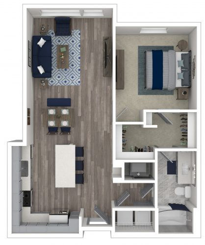 The POISED One Bedroom/One Bath, 817 Total SF