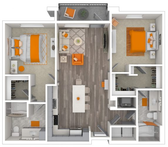 The CAPTIVATING Two Bedroom, Two Bath, 1125 Total SF with Balcony/Patio