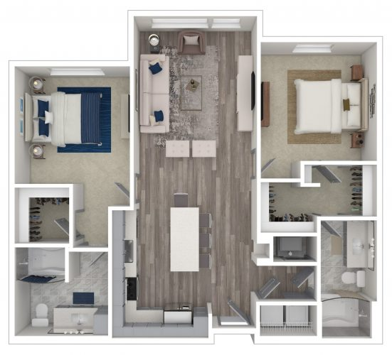 The ALLURING, Two Bedroom, Two Bath, 1120 Total SF