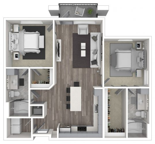 The WHISPERING, Two Bedroom, Two Bath with Balcony, Patio