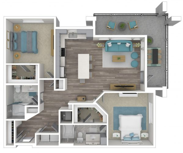 The ENCHANTING, Two Bedroom, Two Bath, 1501 Total SF with Large Wrap Balcony/Patio