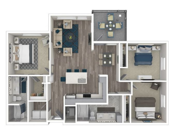 The EXQUISITE, Three Bedroom, Two Bath, 1394 Total SF with Balcony/Patio