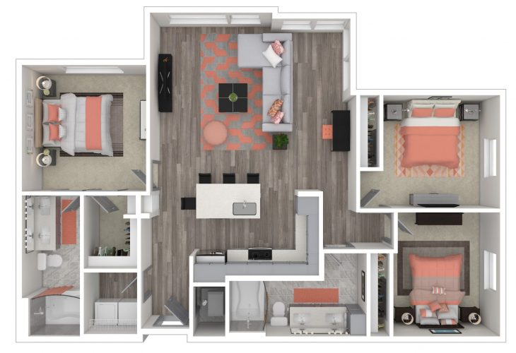 The SPLENDID, Three Bedroom, Two Bath, 1342 Total SF