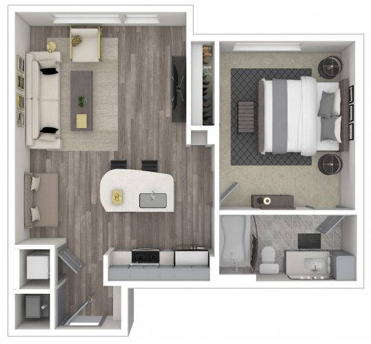 The ARDENT, One Bedroom/One Bath STUDIO, 686 SF